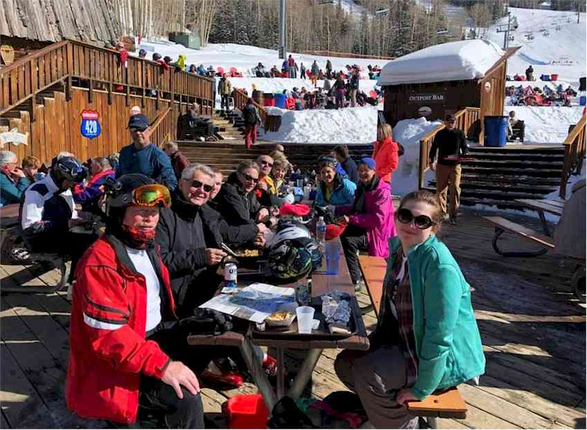 Telluride lunch outside with the Powder Dogs